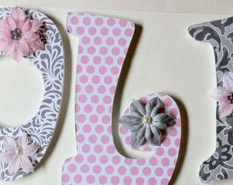 nursery wall letters, wood names, wall letters in damask, girls wood names, decorative wall names, wall art, personalized letters for girls