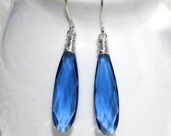 50% OFF Sapphire Blue Quartz & Sterling Silver Earrings. Wire Wrapped Long Drop Earrings. Semi Precious Gemstone Jewellery. Bead Earrings