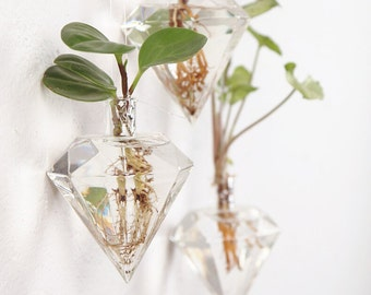 Home Decor Wall Decorations Geometric Glass Vessel Wall Sticked Planters Flower Pots/Water Planter Diamond Vase