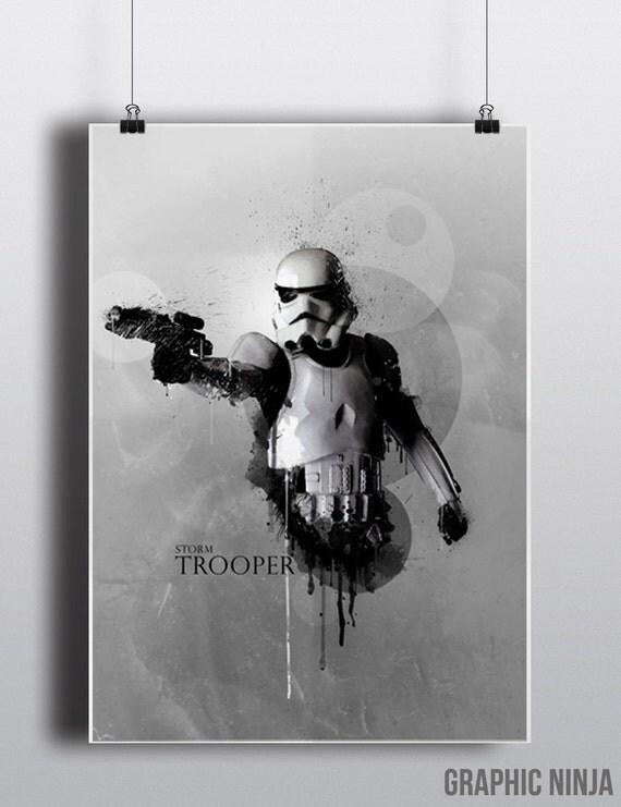 Star Wars inspired Stormtrooper Watercolor Art Print -