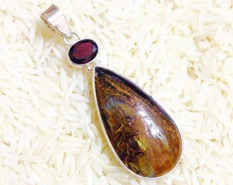 Pietersite, garnet Pendant set in sterling silver (92.5). Genuine natural stones.