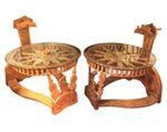 Tibetan End Tables With Repurposed Spinning Wheels - Pair