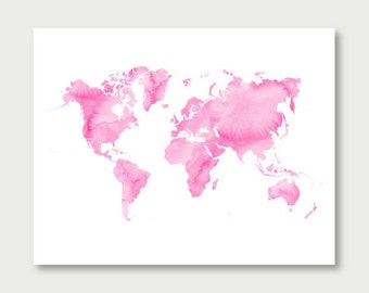 pink world map watercolor download, girls room decor, baby girl nursery digital download, pink watercolor printable, world map wall art jpg