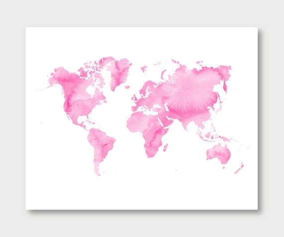 Pink world map watercolor download girls room decor baby pink world map watercolor download girls room decor baby girl nursery digital download pink watercolor printable world map wall art jpg gumiabroncs Images