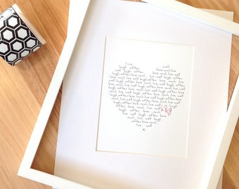 Typography Heart Initial Wall Print, Anniversary Print, Home Decor, Customised Home Art