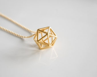 Icosahedron geometric pendant | necklace | bracelet - small, platonic solids, sacred geometry gold jewelry silver easy jewelry modern design