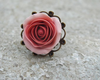 For Anna Coral rose ring , polymer clay ring, handmade copper ring, present for her, summer ring