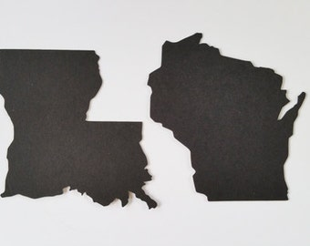 Paper Cut States and Countries Silhouettes
