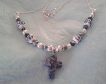 Sodalite Cross, with Blue and White,Porcelain beads on Sterling Silver Chain