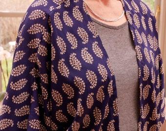 Handmade Women's Kimono Jacket - Dark Blue/Cream Leaf Print
