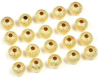 20 22k Gold Plated 6mm Sparkle Shimmer Round Metal Accent Beads (Free Shipping USA)