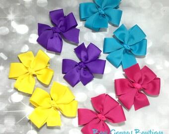 Set of 8 bright color pig tail pinwheel bows, pig tail bow, pig tail pinwheel, pinwheels bows, bright color bows, hair bow set