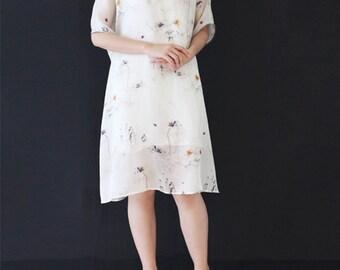 High Quality Organza Dress White Summer Dress Vintage Lotus Flower Printed Short Sleeve Dress Tunic