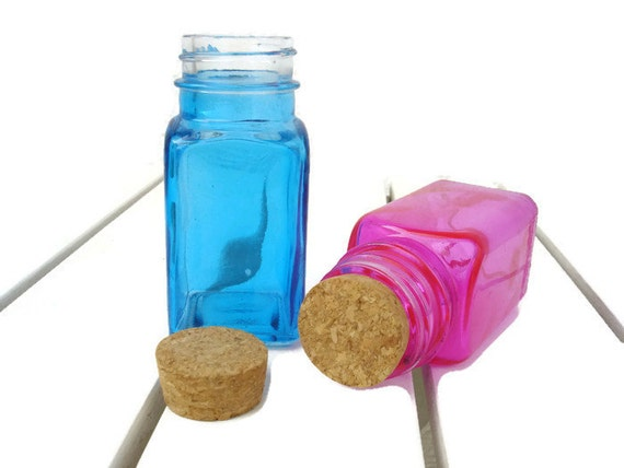 X2 Colored Glass Bottles With Corks Blue And Pink By