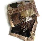 Steampunk cream and brown wrist cuffs - bracers - armwarmers - fabric wristcuffs - steampunk accessory - steampunk gift - upcycled - OOAK