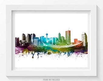 Calgary Canada Poster, Calgary Skyline, Calgary Cityscape, Calgary Print, Calgary Art, Calgary Decor, Home Decor, Gift Idea 01