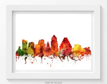 Austin Poster, Austin Skyline, Austin Cityscape, Austin Print, Austin Art, Austin Decor, Home Decor, Gift Idea 04