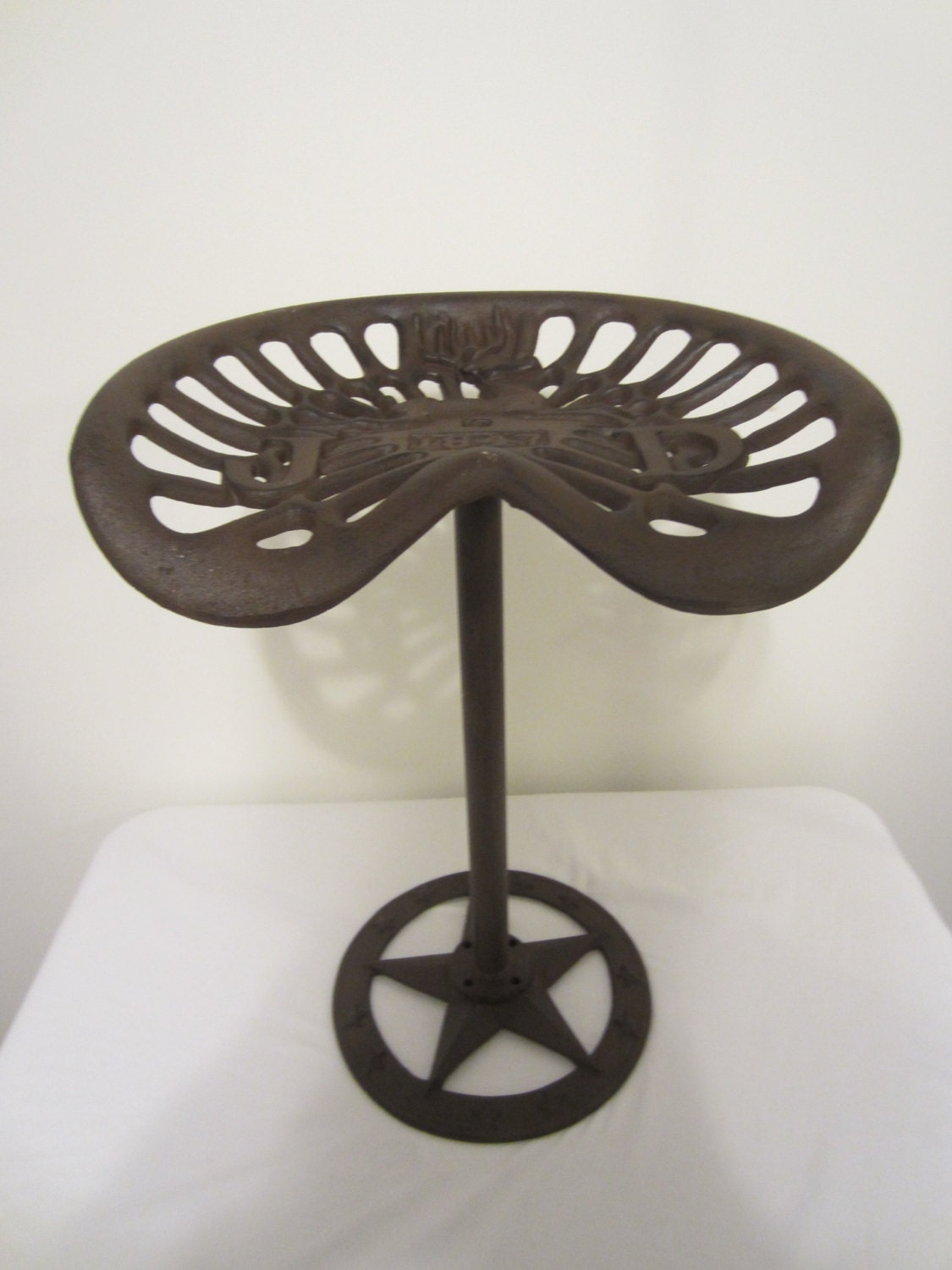 Cast Iron Tractor Seat Stool : Tractor bar stool vintage cast iron saddle farm rustic seat