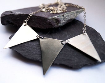 Triangle Trio Sterling Silver Necklace ~ modern, geometric, triangle, pendant