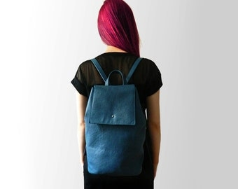 "Genuine leather backpack ""Azure Blue"""