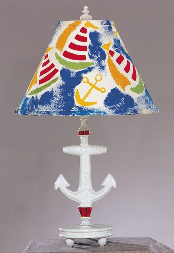 nautical anchor lamp for boys bedroom nursery or playroom. Black Bedroom Furniture Sets. Home Design Ideas