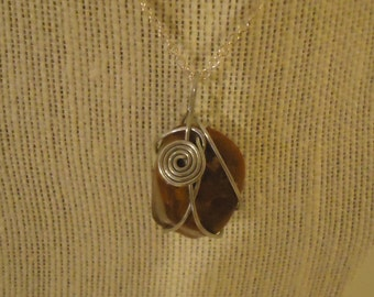 Swirl Wire Wrapped Stone Necklace