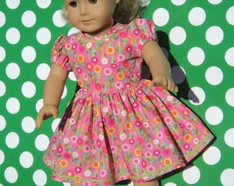 """Pink Floral Doll Dress - Doll Dress - Floral Doll Dress - Doll Dress - Doll Clothing - 18 inch Doll Dress - 18"""" Doll Clothes"""