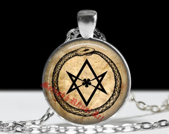 Ouroboros pendant, hexagram amulet, 93, Thelema, snake necklace, occult, magic, alchemy jewellery, Crowley talisman, parchment style #28