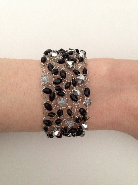 knitted wire bracelet black and silver beaded by catdknits