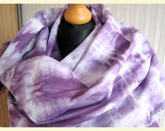 Hand dyed pure linen lavender violet extra long scarf