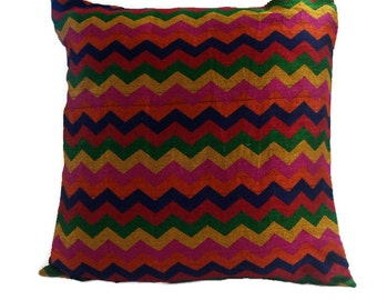 Decorative 18x18 Chevron Indian Throw Pillow Cover Indian Cushion Cover Cotton Accent Pillow Designer Sofa Pillow Couch Pillow