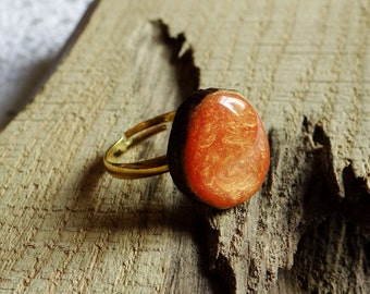 Wooden black ring, natural wood ring, unique gift, wood jewelry, eco friendly ring, wood gem, orange ring (0130)