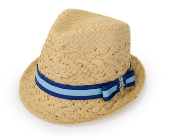 Nautical Fedora hat for women , decorated with a cotton stripe ribbon and a bow, with a golden anchor.