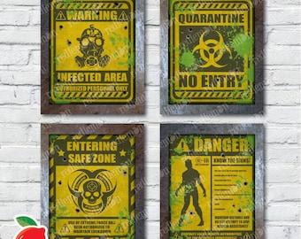 Set of 4 Zombie Themed Art Prints