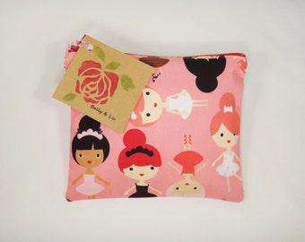 Ballerina Reusable Snack Bag, Sandwich Bag, Girls Snack Bag, Reusable Sandwich Bag, Travel Bag, Pacifier Pouch, Pet Treat Pouch