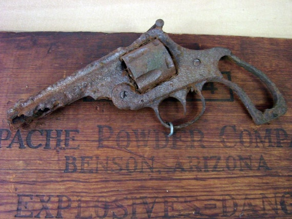 Old West Revolver Gun Relic Mounted On Explosives Wood Box