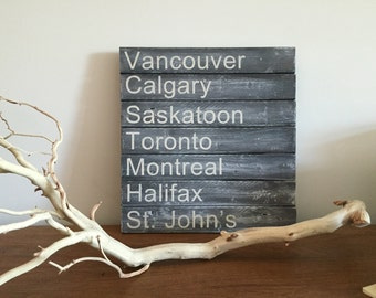 Canadian Cities Wood Sign on Slats
