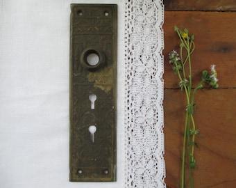Antique Victorian Door plate with key holes, escutcheon, Door Knob Back Plate, Door plate, EastLake style, detailed door plate, key plate
