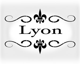 Shabby Chic Stencil French Lyon - Stencil in Reusable Mylar For Signs, Furniture and  Fabric  - Size A5 5.8 x 8.3 in  and  A4 8.3 x 11.7 in