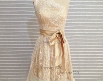 Lace Short Bridesmaid Dress Prom Dress Wedding Dress, Lace Short Bridesmaid Dress, Wedding Bridal Dress