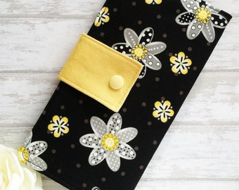 Womans black and yellow floral wallet, bifold slim wallet, clutch womens wallet, handmade fabric wallet, credit card money wallet, gift idea