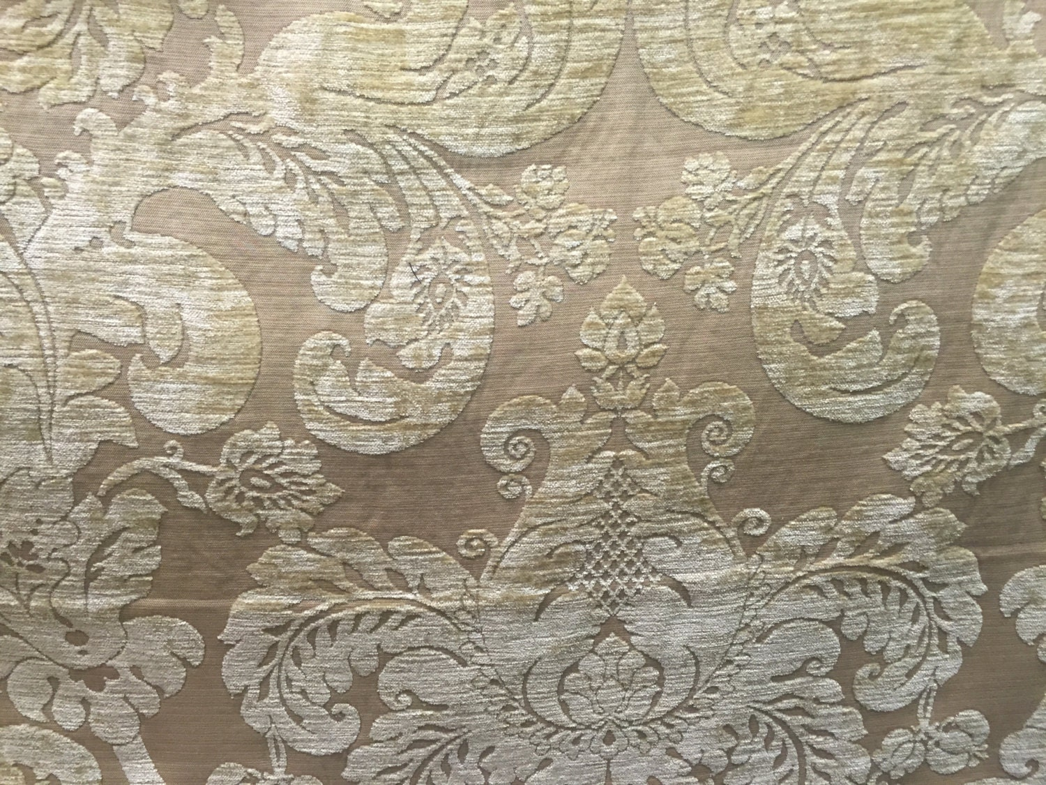 Brown and cream damask upholstery fabric by the by shopmyfabrics