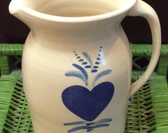 Wheel Thrown Ribbed Stoneware Pottery, Vintage, Crock Pitcher, Blue Heart on Branch, 1 Gallon Capacity