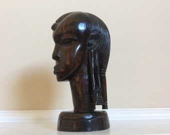 Remarkable African Hand Carved Wood Woman Head Bust Sculpture.