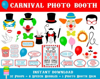 PRINTABLE Carnival Photo Booth Props–Carnival Photo Booth Sign-Printable Circus Photo Booth Props-Carnival Printables-Instant Download