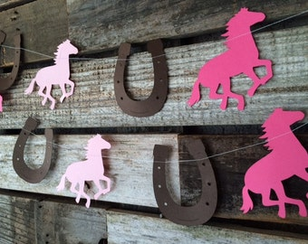 Horse and Horseshoe Party Garland - Cowgirl Party, Baby Shower, Photo Prop, Birthday Party, First Birthday
