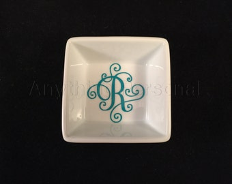 Personalized Gift, Scroll Letter Ring Dish, Personalized Ring Dish, Monogram Gift, Jewelry, Porcelain Dish, Trinket Dish, Bachelorette