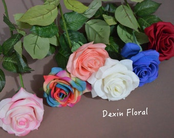 Real Touch Roses for Silk Wedding Centerpieces, Bridal Bouquets, Cake Decorations Single Stems in Red White Rainbow Blue Yellow Orange