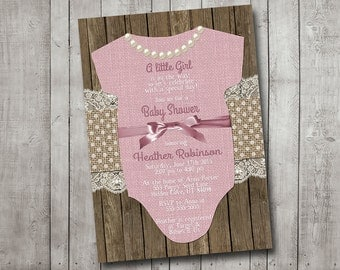 Girl Baby Shower Invitation Pink Bow with Pearls Burlap Polkadot Wood Shabby Rustic Printable Digital