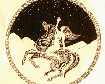 Native Pattern Horse and Woman Riding the Desert - Animal and Figure Pen and Ink Drawing